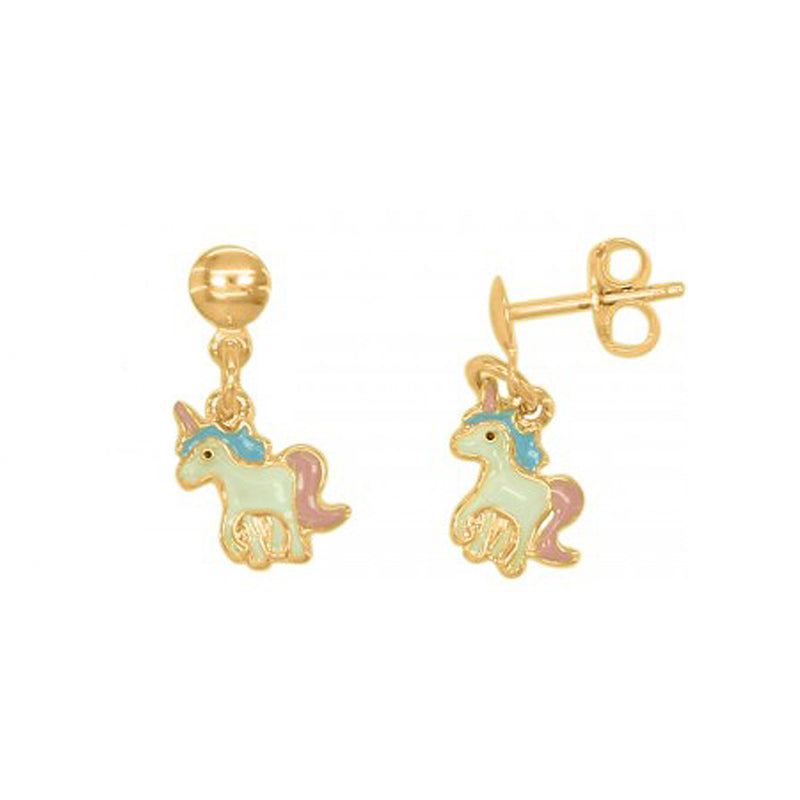 Sterling Silver Unicorn Earrings 14K Gold Plated