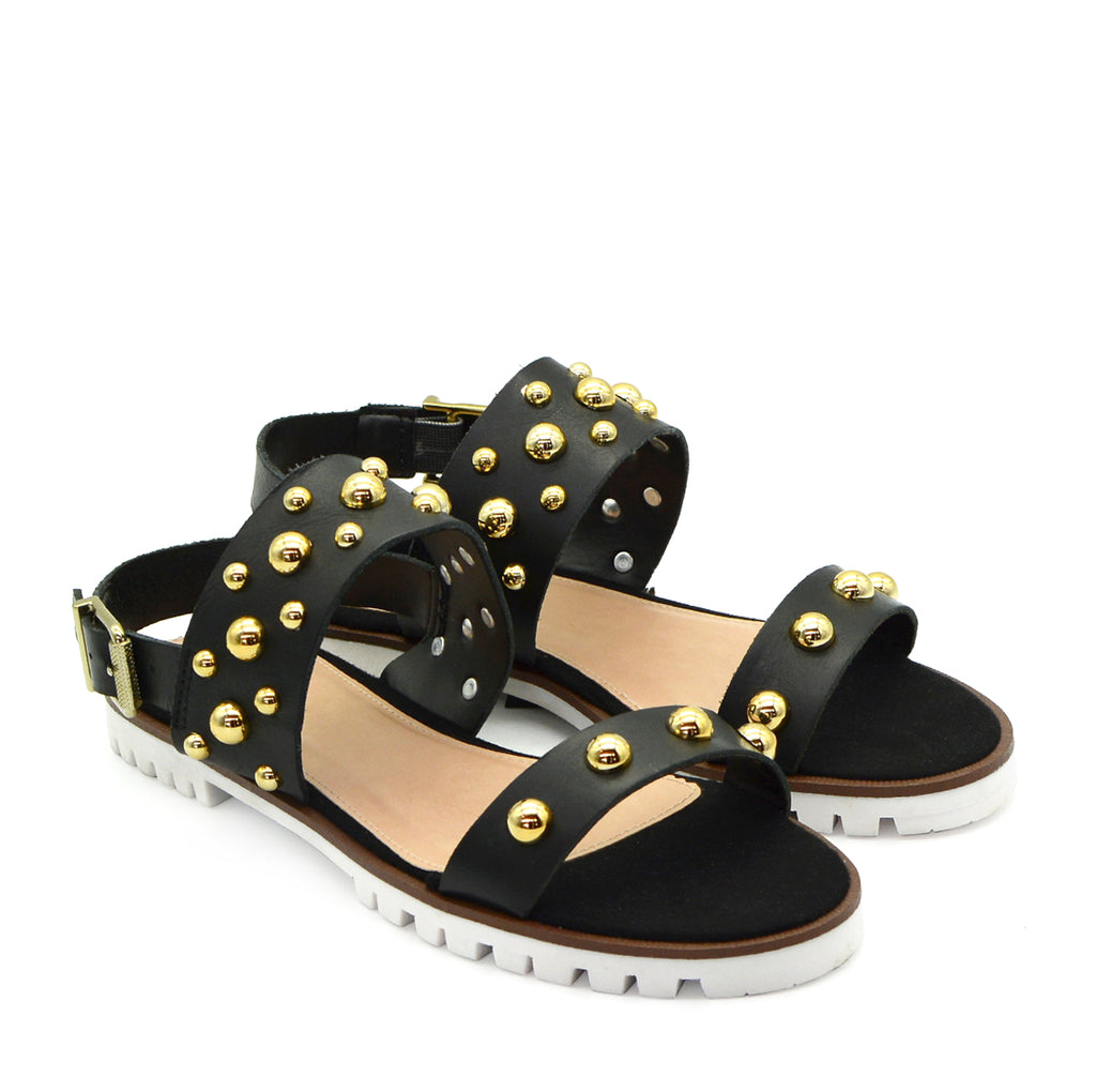 Sasha Leather Flat Sandals in Black
