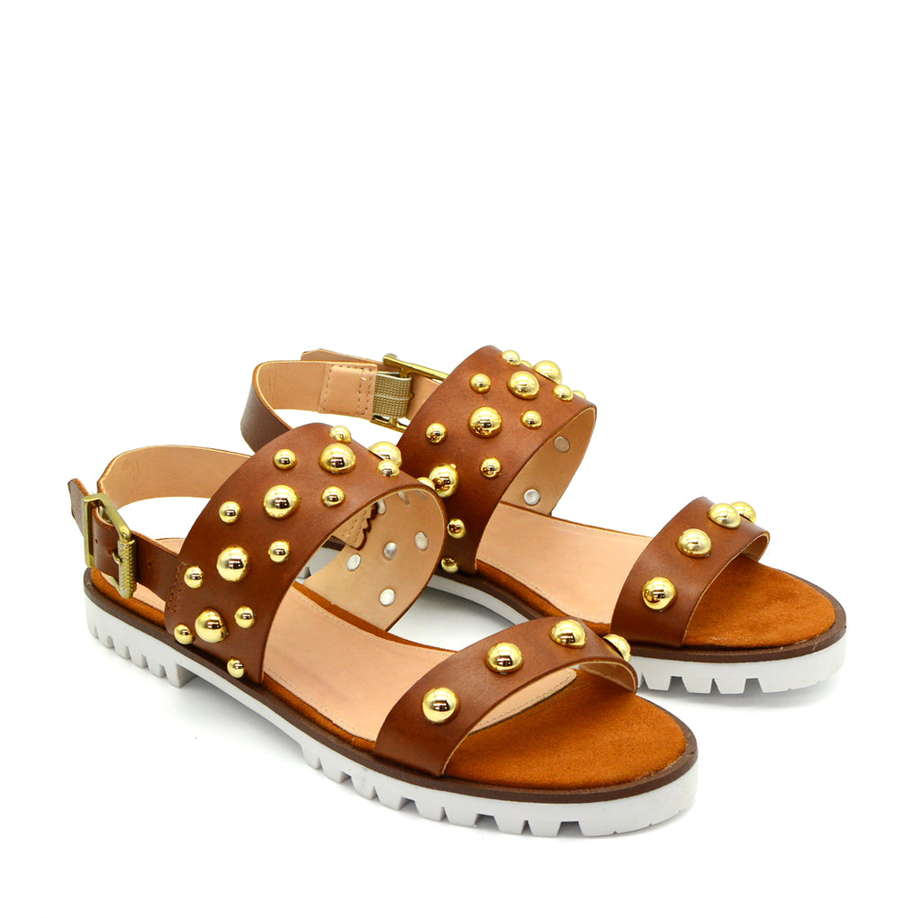 Sasha Leather Flat Sandals in Tan