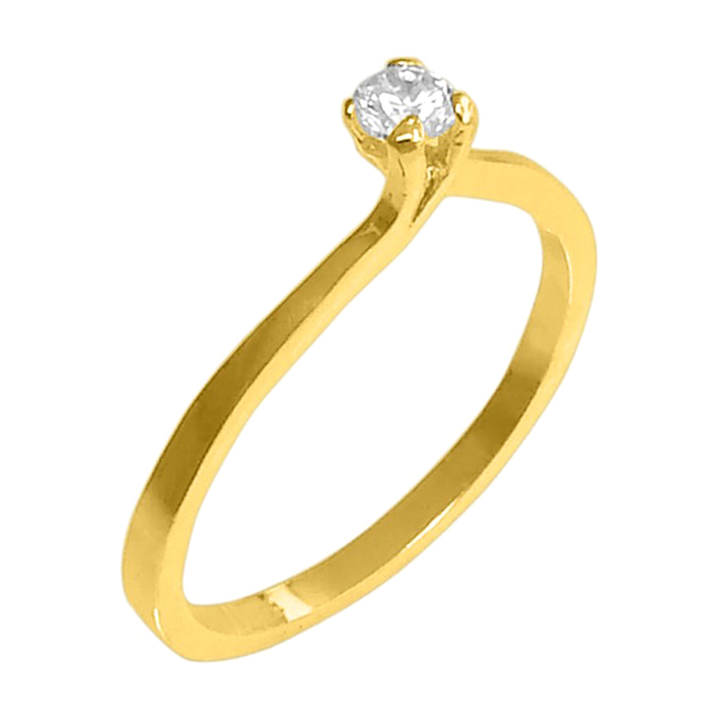 18k Gold Plated Round Ring with Rhinestone