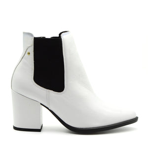 Snow White Patent Pointed Toe Ankle Boots
