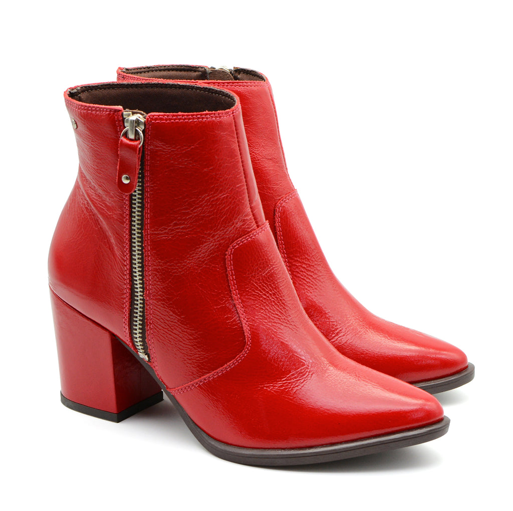 Carmin Red Patent Ankle Boots