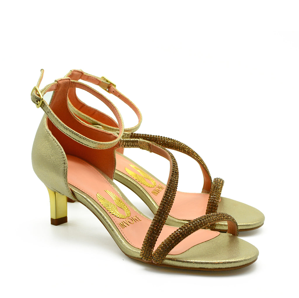 Michelle Heeled Sandals in Gold