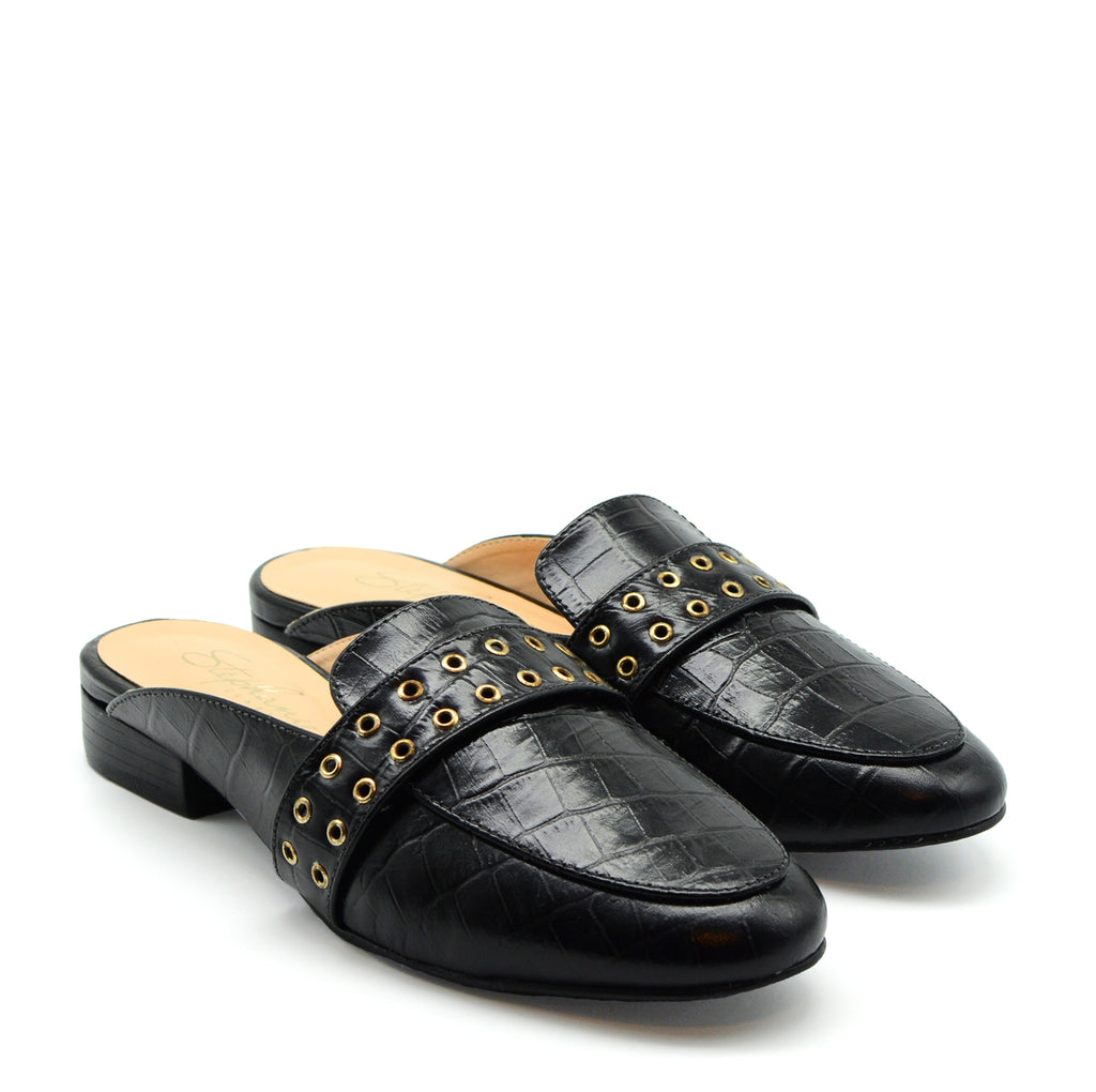 Grace Flat Mule in Black Leather