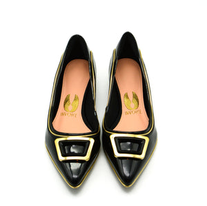 Mila Pointed Ballet Flat Shoes in Black Patent