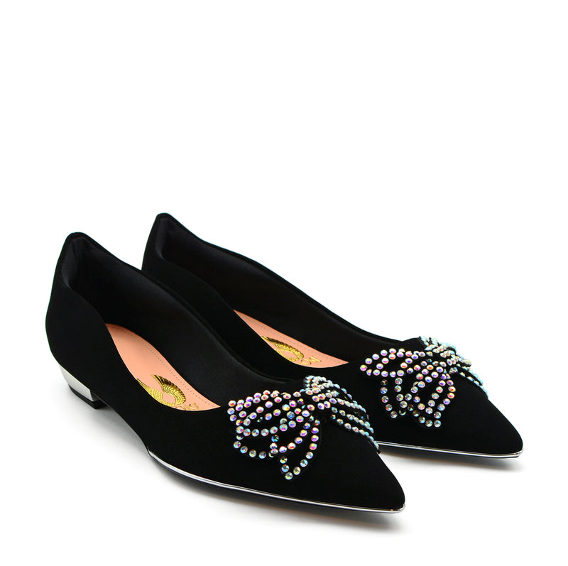 Sophie Pointed Ballet Flat Shoes in Black