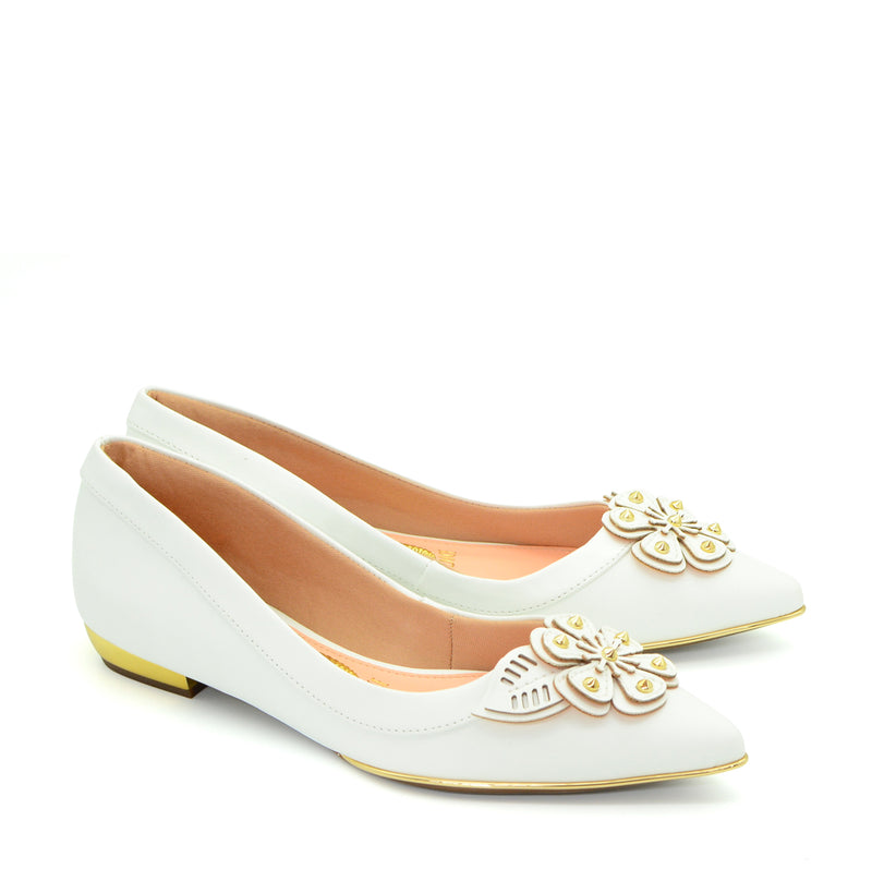 Kate Pointed Ballet Flat Shoes in White & Gold