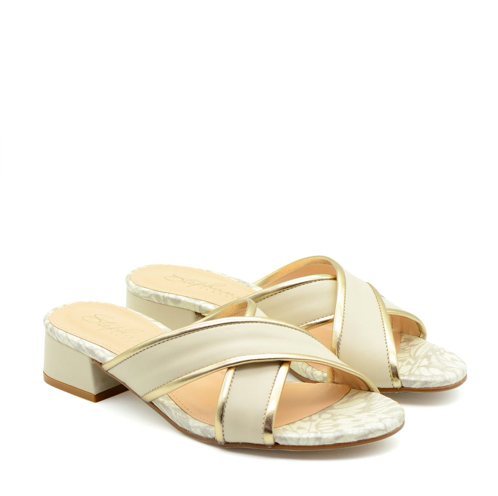 Heloise White & Gold Cross-Strap Sandals