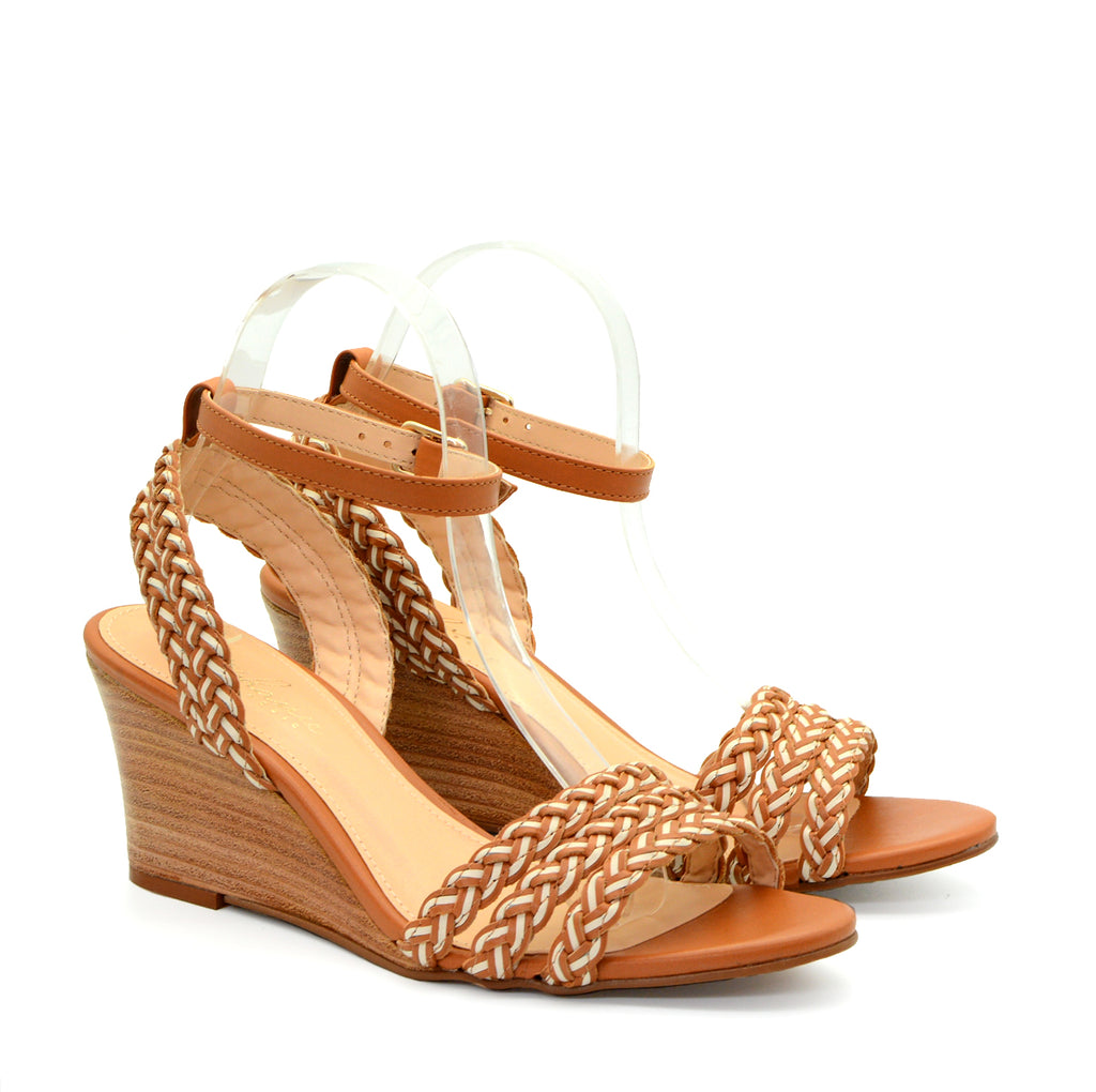 Mathilde Tan & White Ankle Strap Wedge Sandals