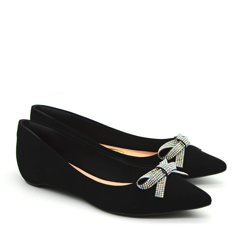 Isa Pointed Ballet Flat Shoes in Black with Silver Bow