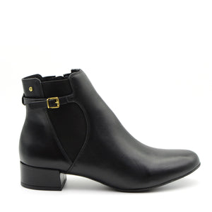 Joy Black Leather Ankle Boots
