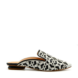 Lucia Pointed Flat Mule in Black & White Hearts