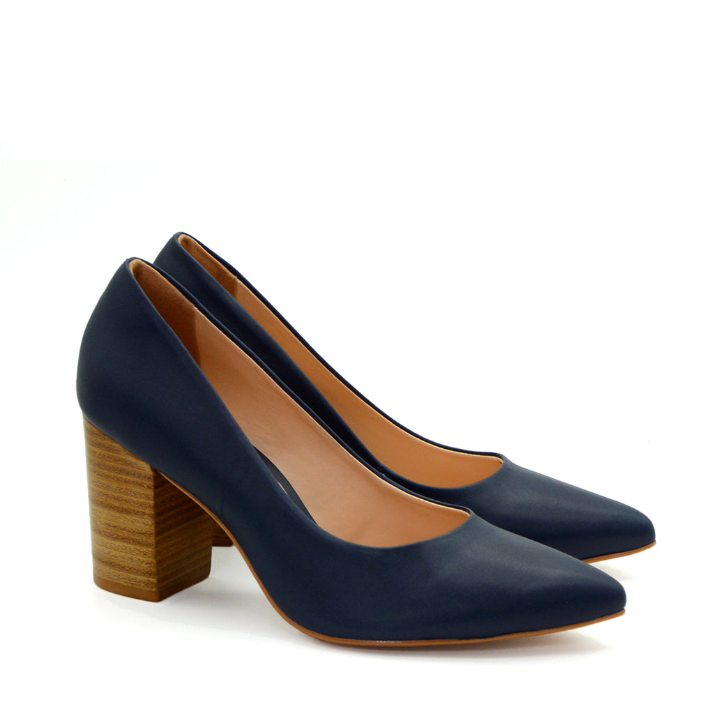 Ava Navy Pump Wood Block Heels