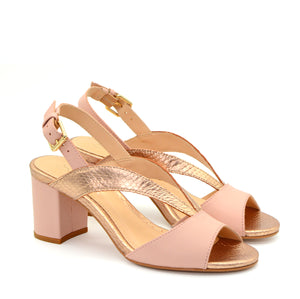 Manon Blush & Rose Gold Cross-Strap Block Heels