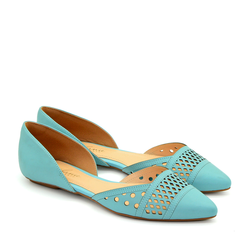 Victoire Blue Sky Pointed Ballet Flat Shoes