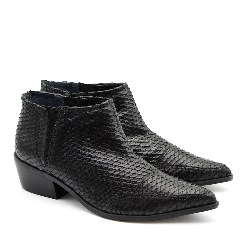 Heather Black Snake Leather Ankle Boots