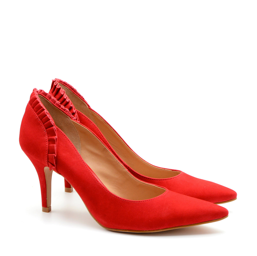 Ruby Pointed High Heeled Court Shoes in Red