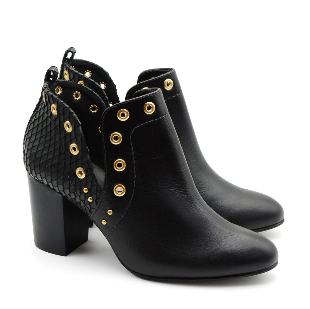 Juliana Black Ankle Boots with Gold Studs
