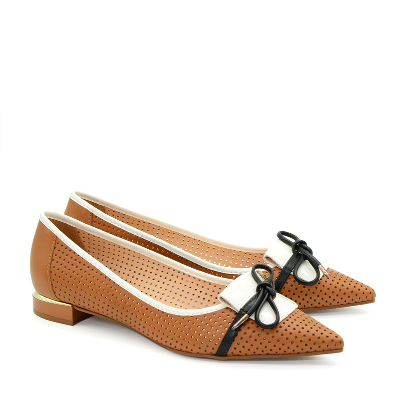 Nour Pointed Ballet Flat in Tan