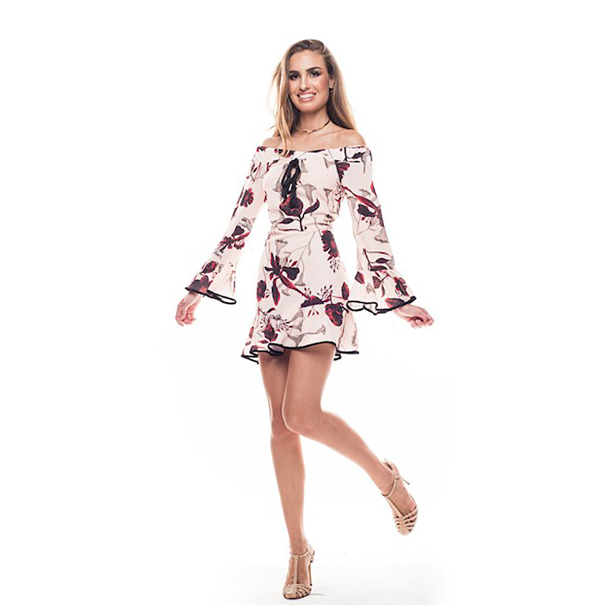 Elena Mini Bardot Floral Dress