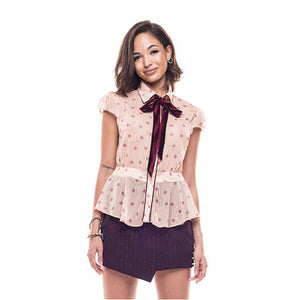 Gaia Lace Top With Velvet Bow