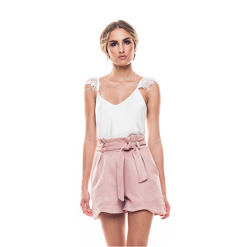 Giulia Belted Paper Bag Shorts in Blush