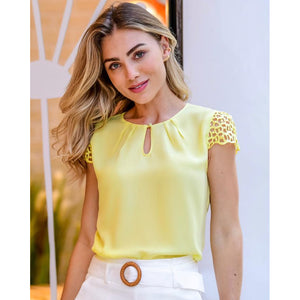 Mila Lace Shoulder Top in Yellow