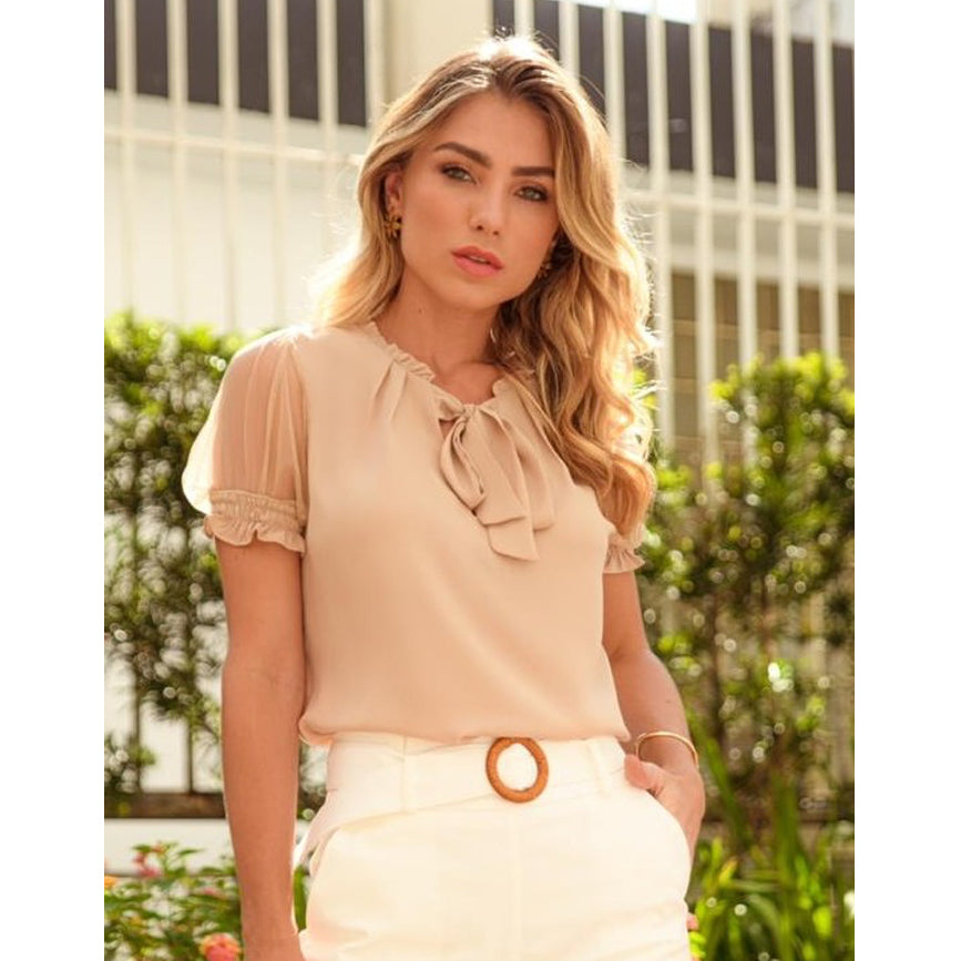 Camila Transparent Puff Sleeve Tee in Nude