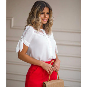 Scarlett Embroidered Tie-Sleeve Top in White