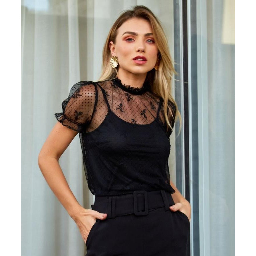 Victoria Transparent Puff Sleeve Top in Black
