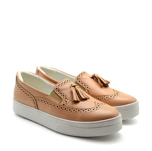 Emily Wide Fit Loafer Slip On Sneakers in Blush