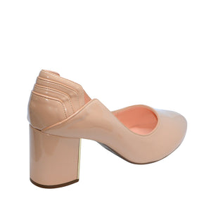 Luiza Blush Patent Pump Block Heels