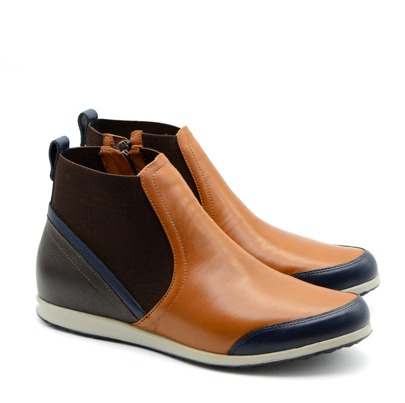 Sandy Tan, Navy & Brown Ankle Boots