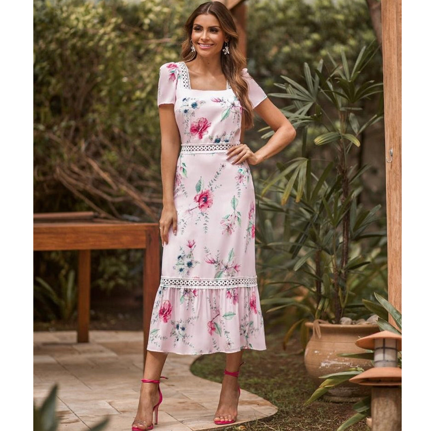 Aurora Floral Shirred Midi Dress