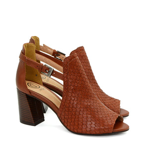 Eva Tan Leather Block Heels