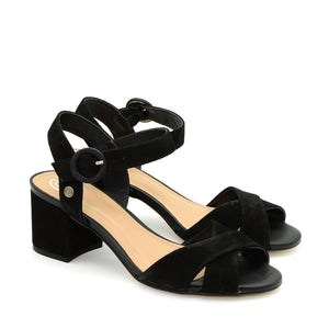 Lina Black Cross-Strap Sandals