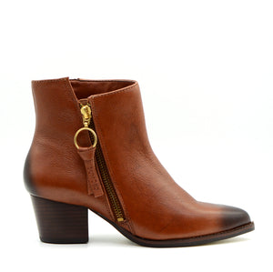 Mila Pointed Tan Ankle Boots