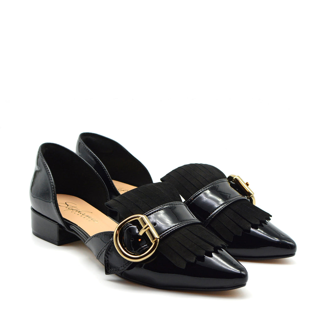 Luna Pointed Flat Shoes in Black Patent