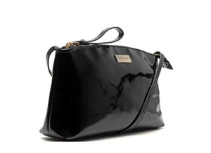 Dumond Salome Crossbody Bag in Black Patent