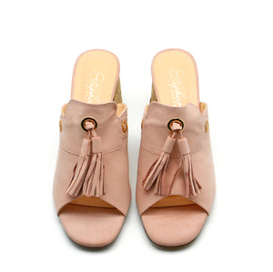 Day Blush Suede Mule Block Heels with Tassels