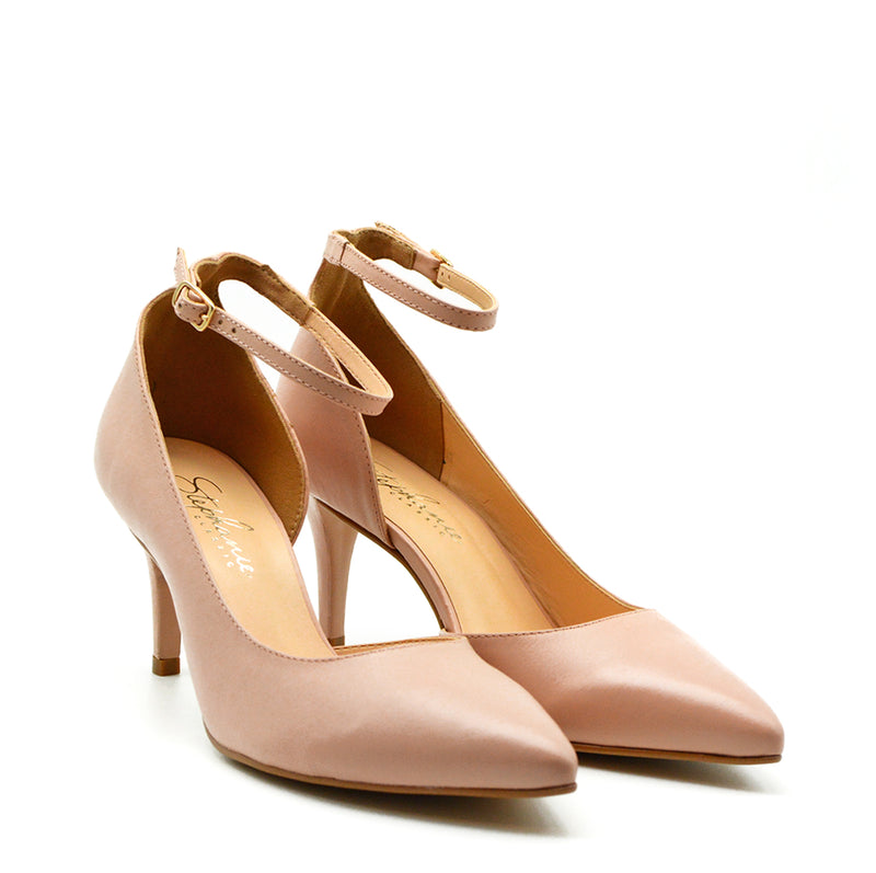 Nova Blush Leather Ankle Strap Stiletto Heel