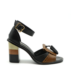 Sofia Black & Brown Leather Stacked Block Heel
