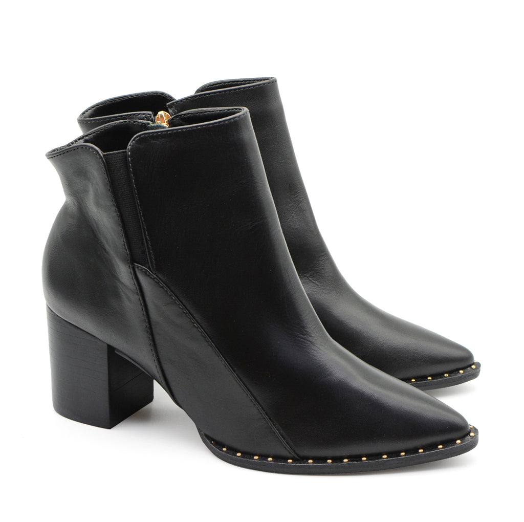 Miranda Black Ankle Boots with Gold Studs