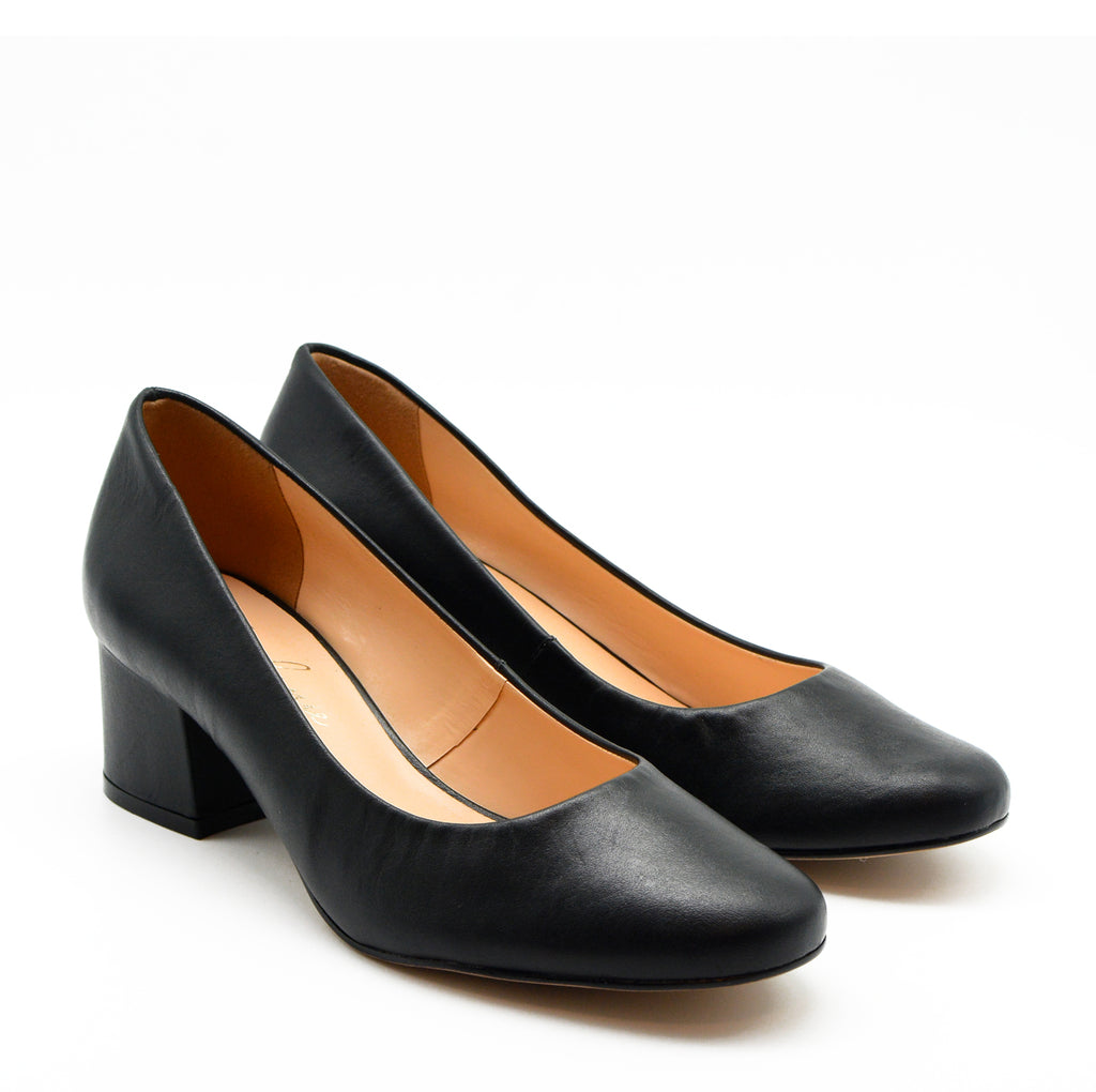 Nora Black Pump Block Heels