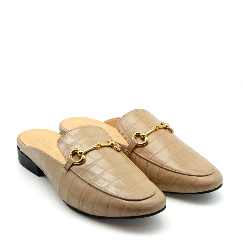 Stella Flat Mule in Nude Croc Leather