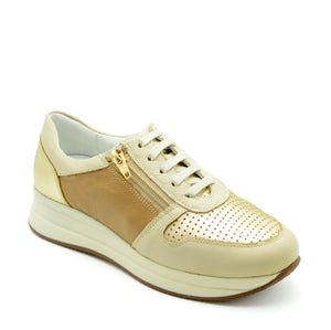 Elo Lace Up Sneaker in Beige Tan & Gold