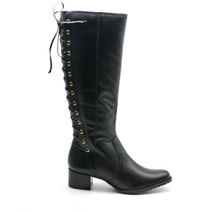 Isabella Black Leather Knee High Boots