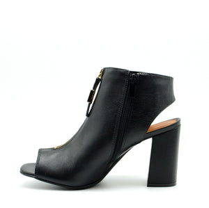 Camille Black Open Toe Block Heels