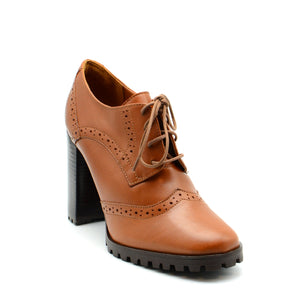 Ava Tan Brogue Block Heels