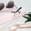 18K Gold Delicate Eyeglasses Chain with Pearl Studs